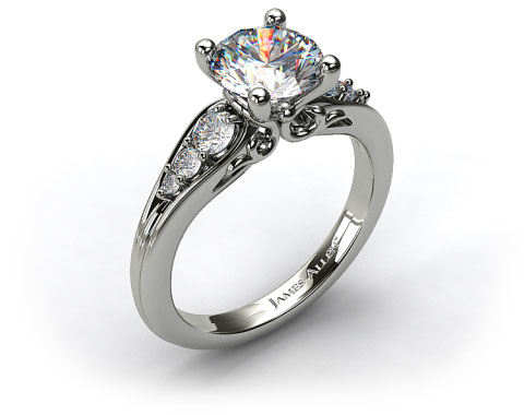 18k White Gold Graduated Pave Swirl Engagement Ring